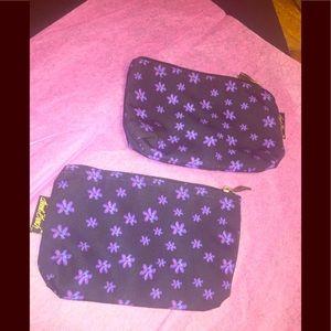 Laurel Burch's 2 Black Floral Print Makeup Bags
